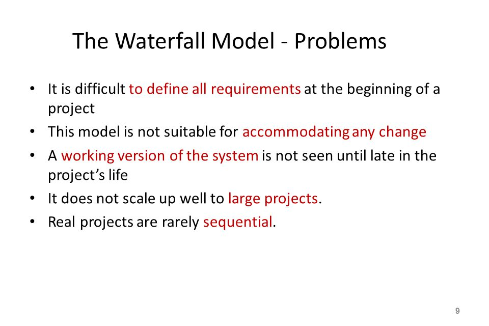 The Waterfall Model - Problems