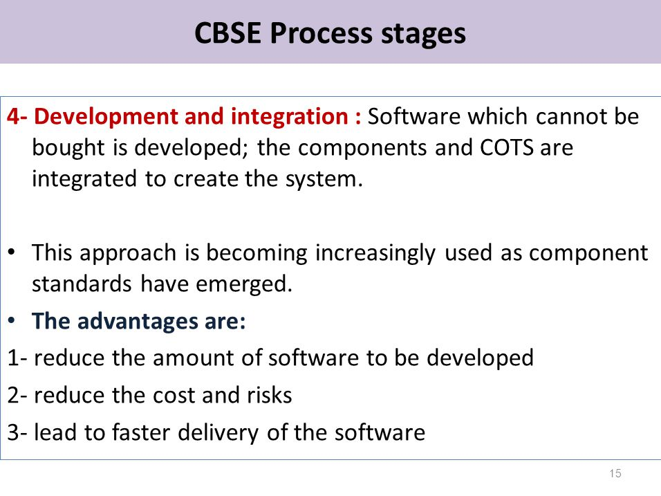 CBSE Process stages