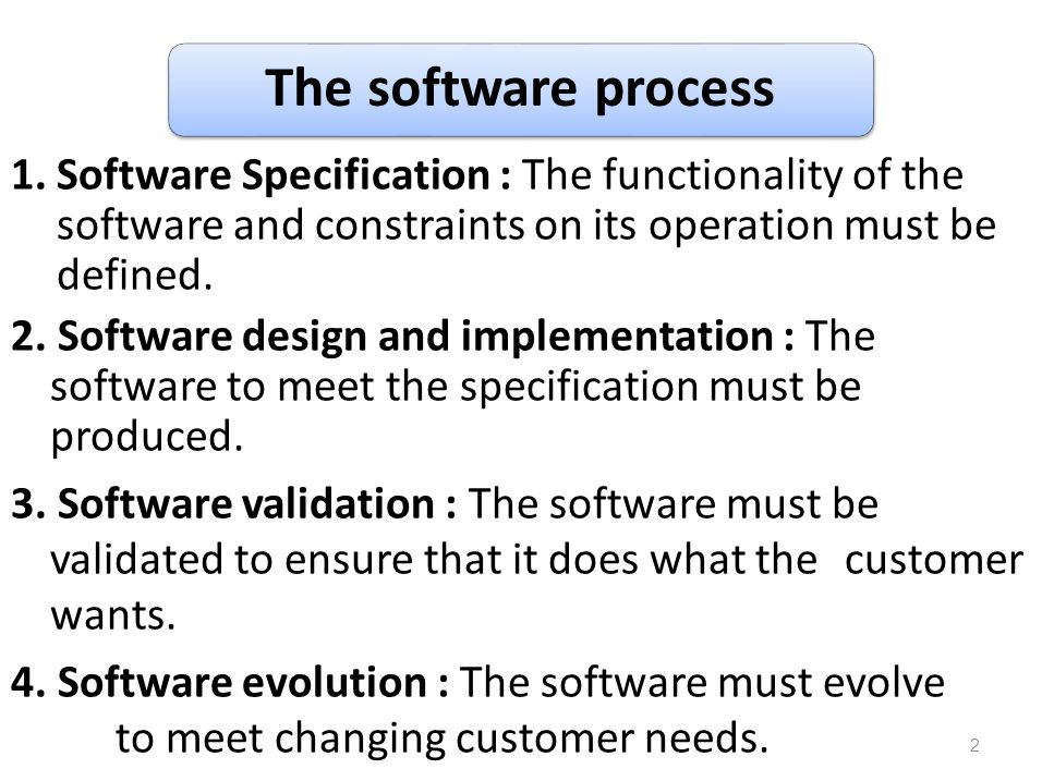 The software process Software Specification : The functionality of the software and constraints on its operation must be defined.