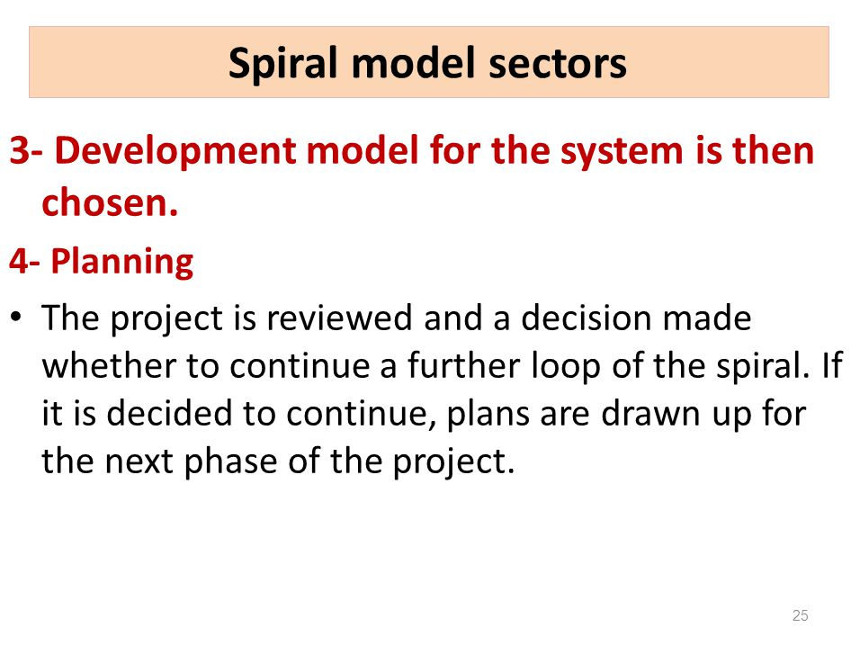 Spiral model sectors 3- Development model for the system is then chosen. 4- Planning.