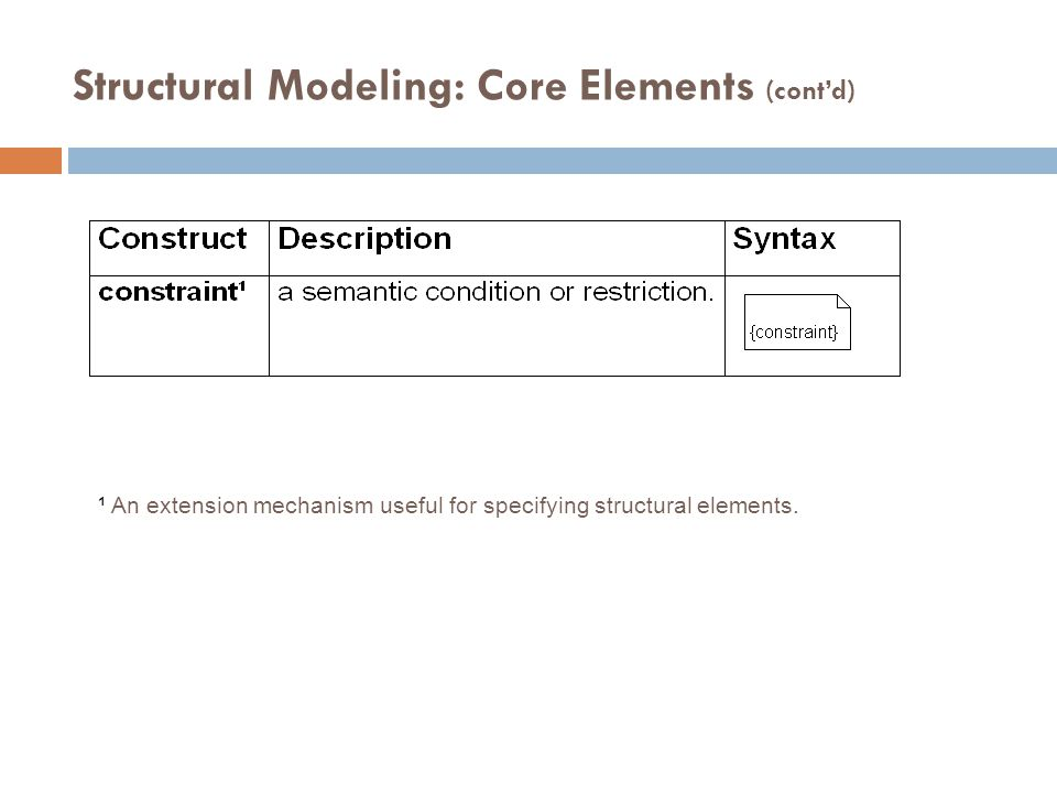 Structural Modeling: Core Elements (cont'd)