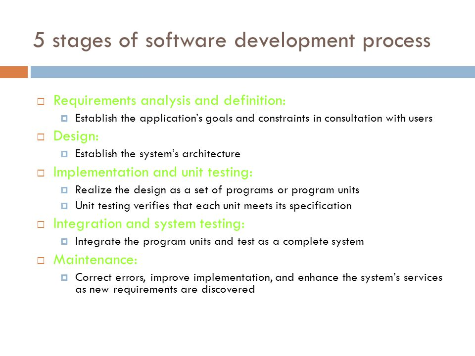 5 stages of software development process