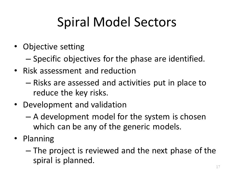 Spiral Model Sectors Objective setting