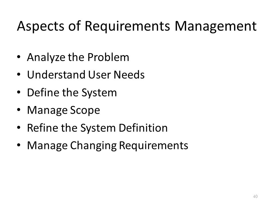 Aspects of Requirements Management