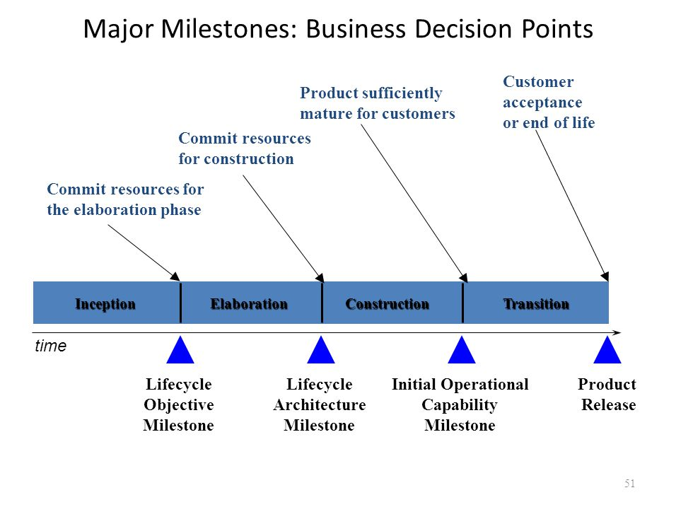 Major Milestones: Business Decision Points