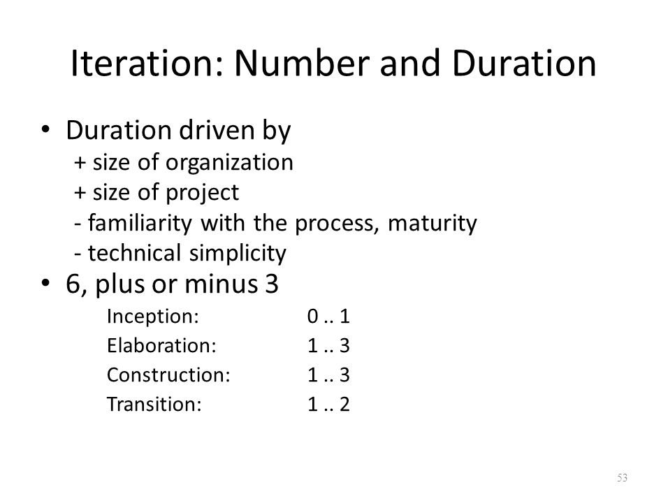 Iteration: Number and Duration