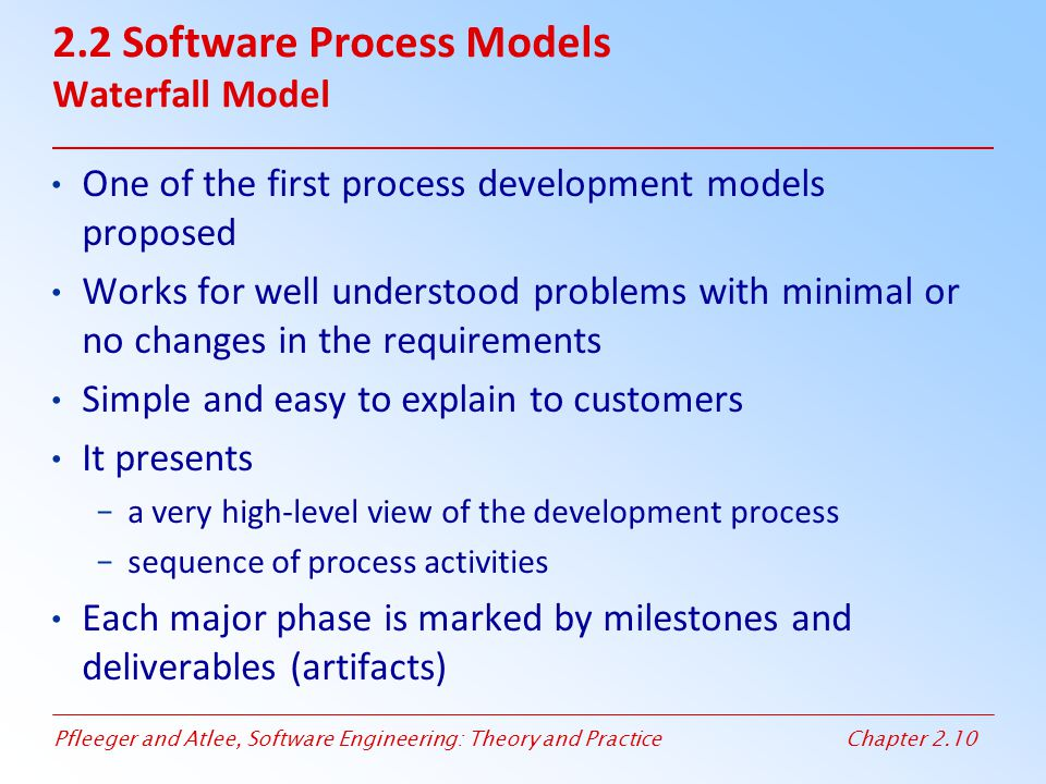 2.2 Software Process Models Waterfall Model