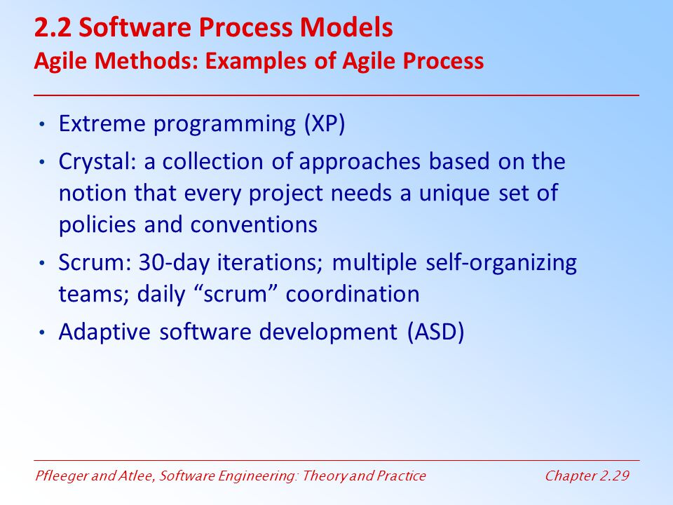 2.2 Software Process Models Agile Methods: Examples of Agile Process
