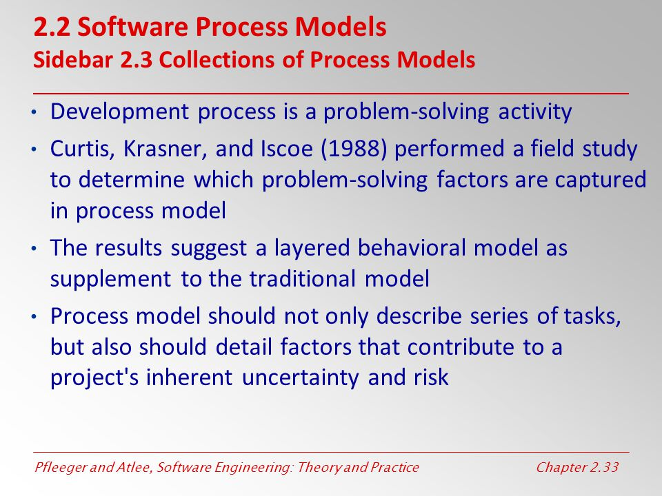 2.2 Software Process Models Sidebar 2.3 Collections of Process Models