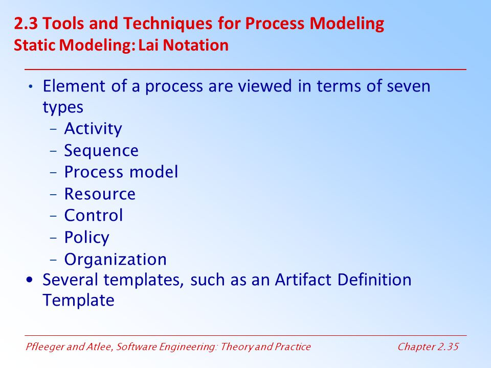 Element of a process are viewed in terms of seven types