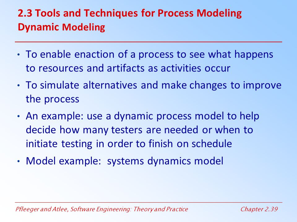 2.3 Tools and Techniques for Process Modeling Dynamic Modeling