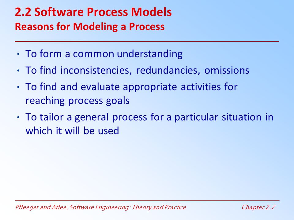 2.2 Software Process Models Reasons for Modeling a Process