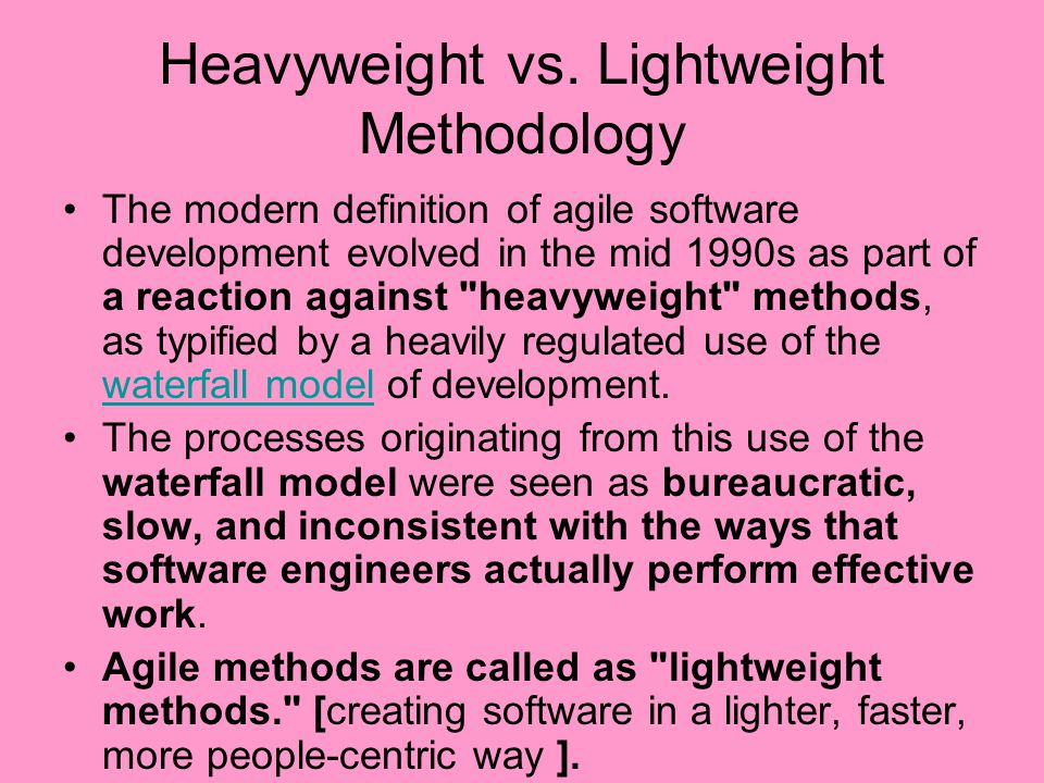 Heavyweight vs. Lightweight Methodology