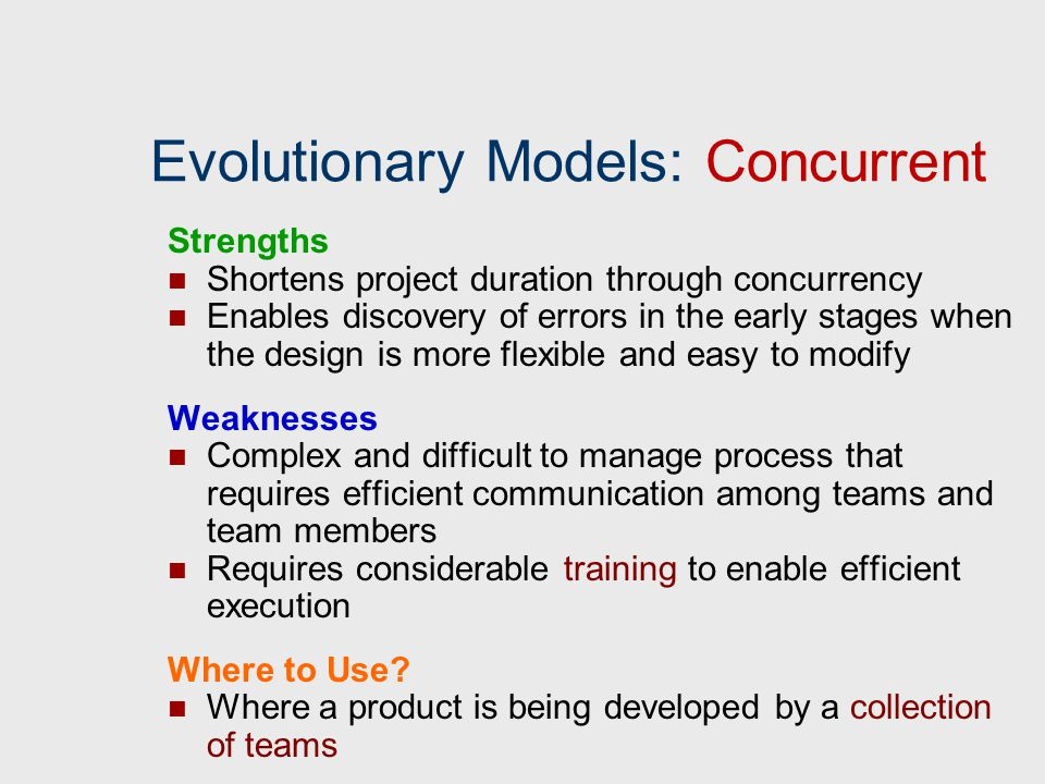 Evolutionary Models: Concurrent