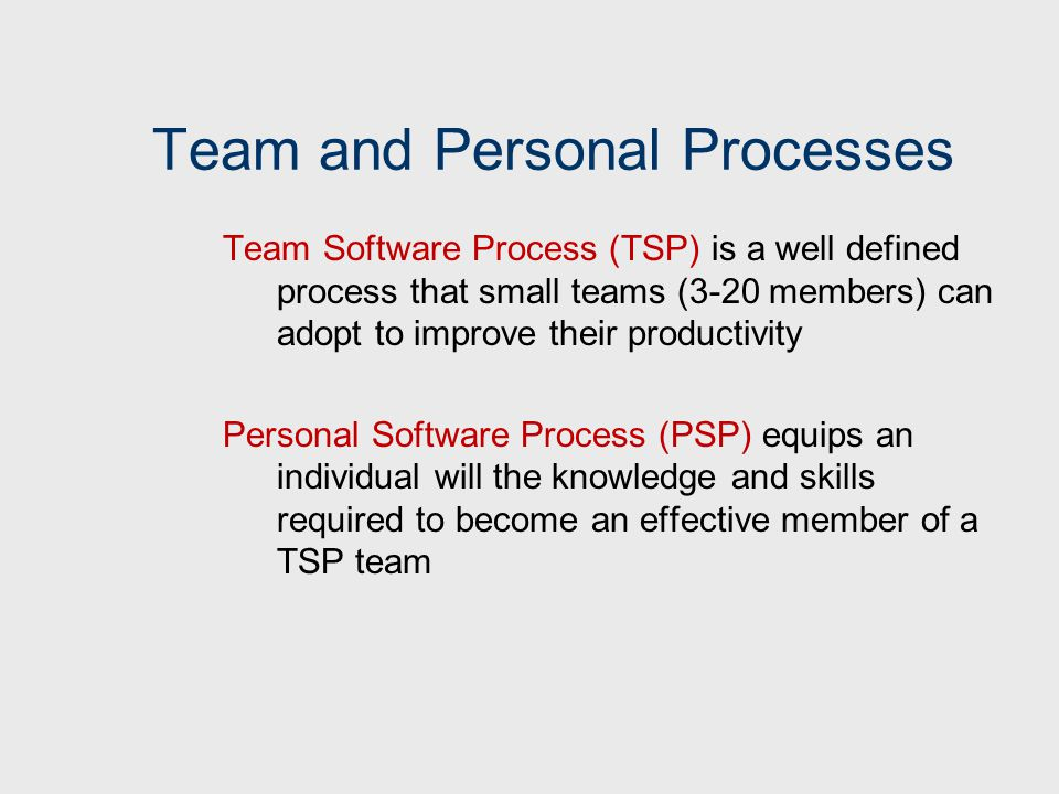 Team and Personal Processes