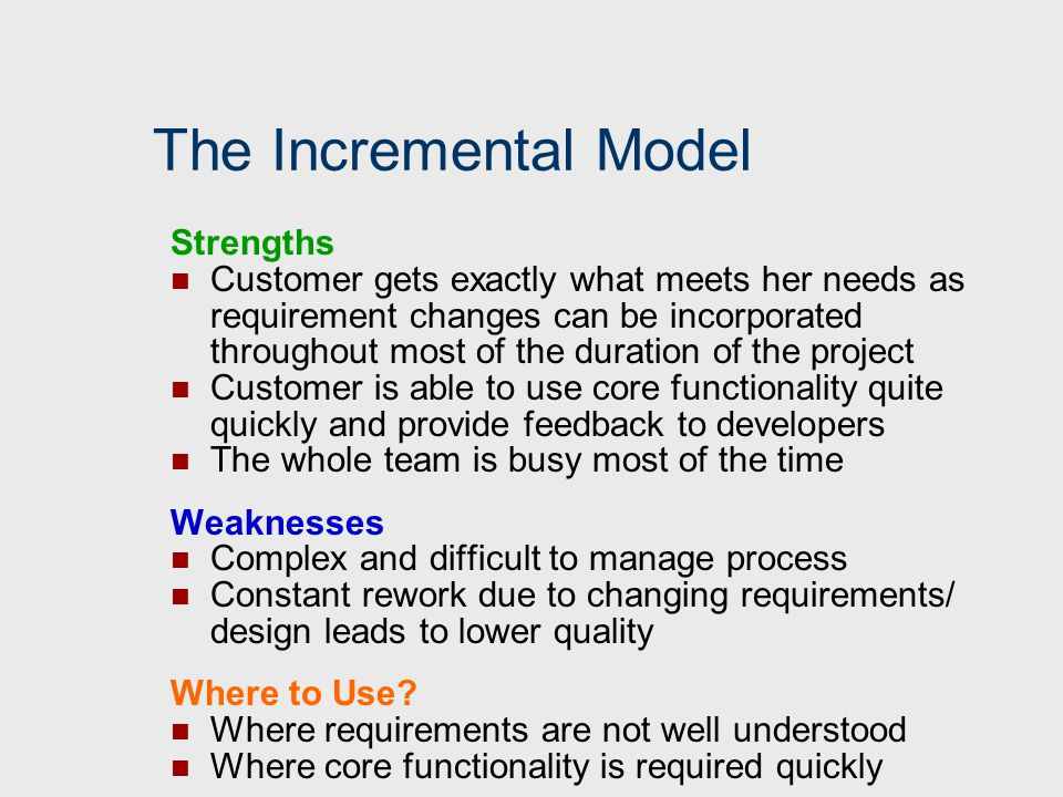 The Incremental Model Strengths