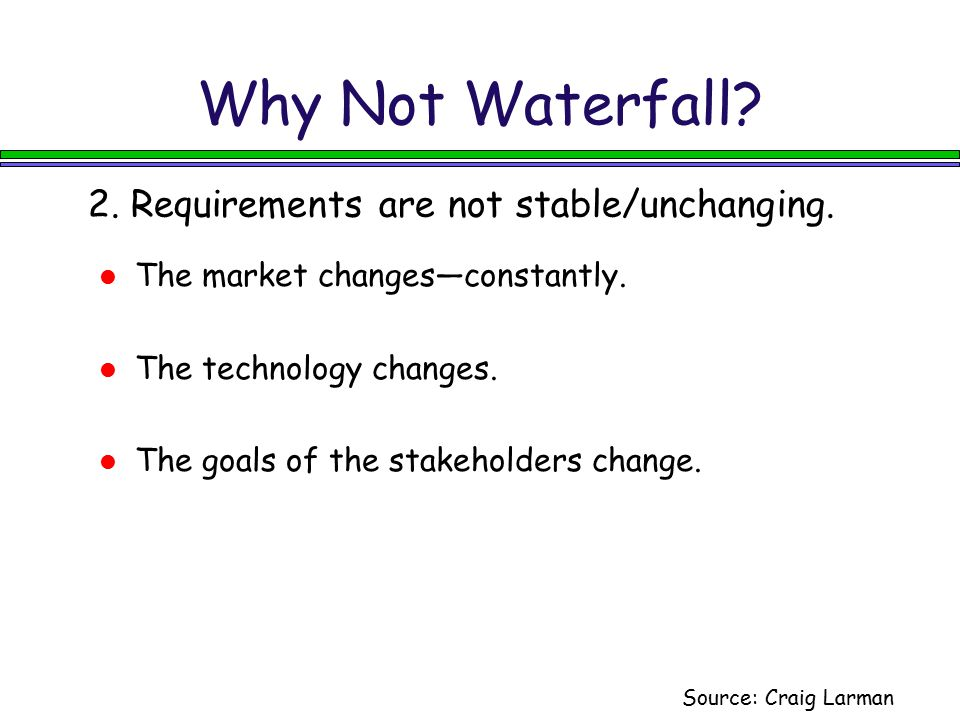 Why Not Waterfall 2. Requirements are not stable/unchanging.