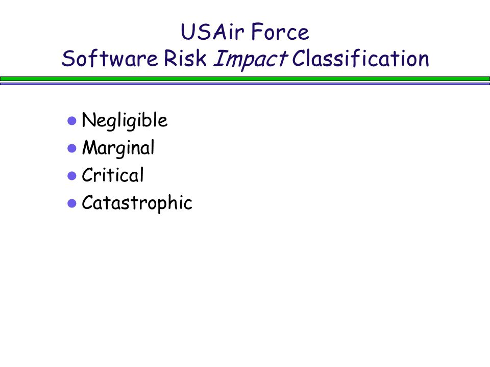 USAir Force Software Risk Impact Classification