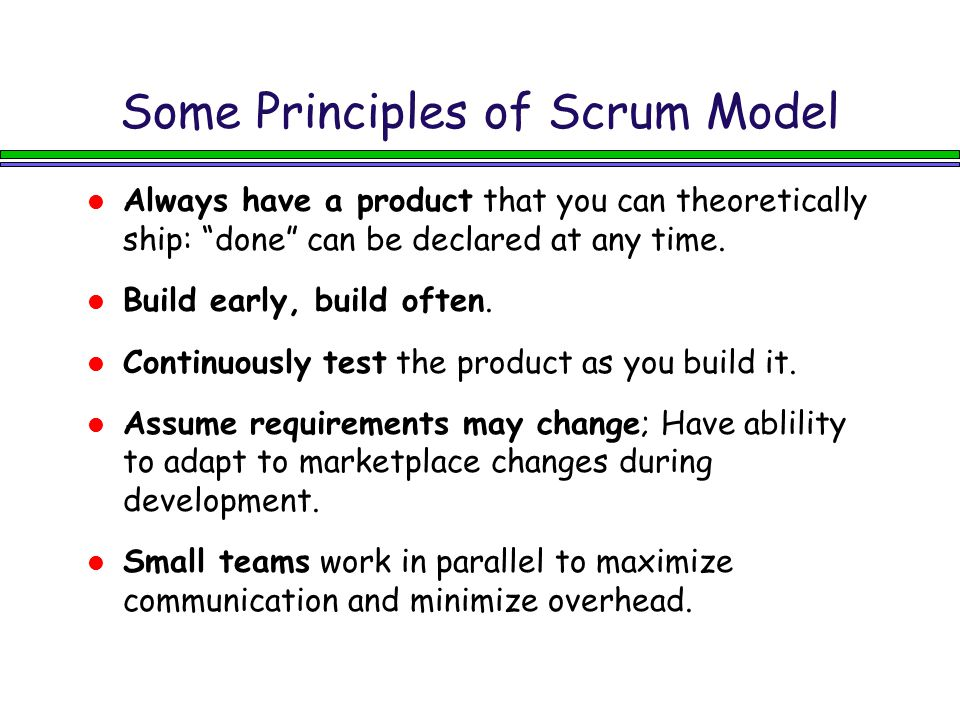 Some Principles of Scrum Model