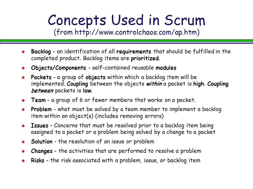 Concepts Used in Scrum (from http://www.controlchaos.com/ap.htm)