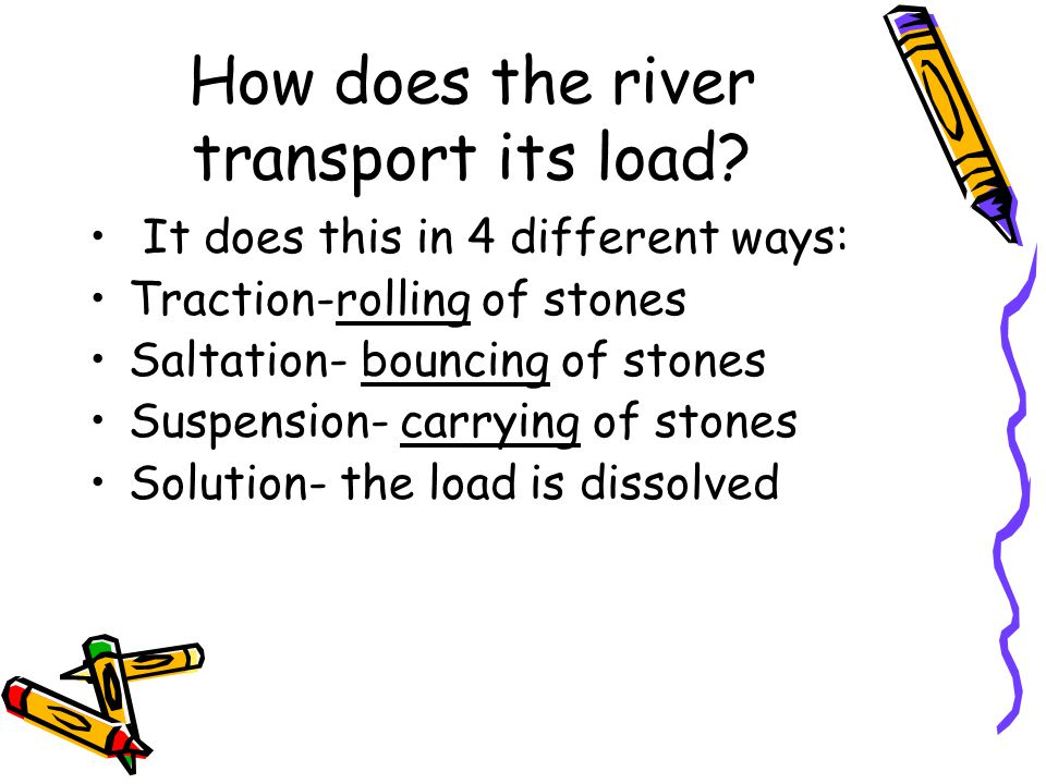 How does the river transport its load