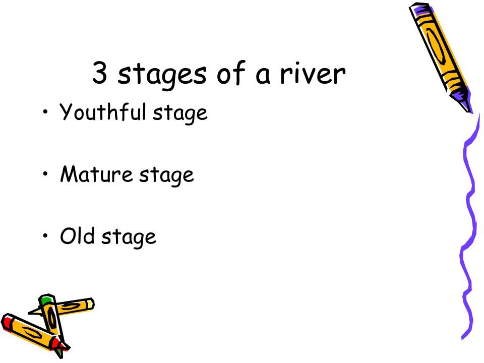 3 stages of a river Youthful stage Mature stage Old stage