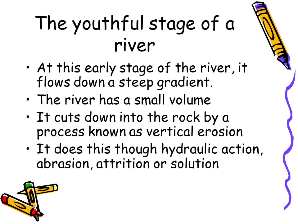 The youthful stage of a river