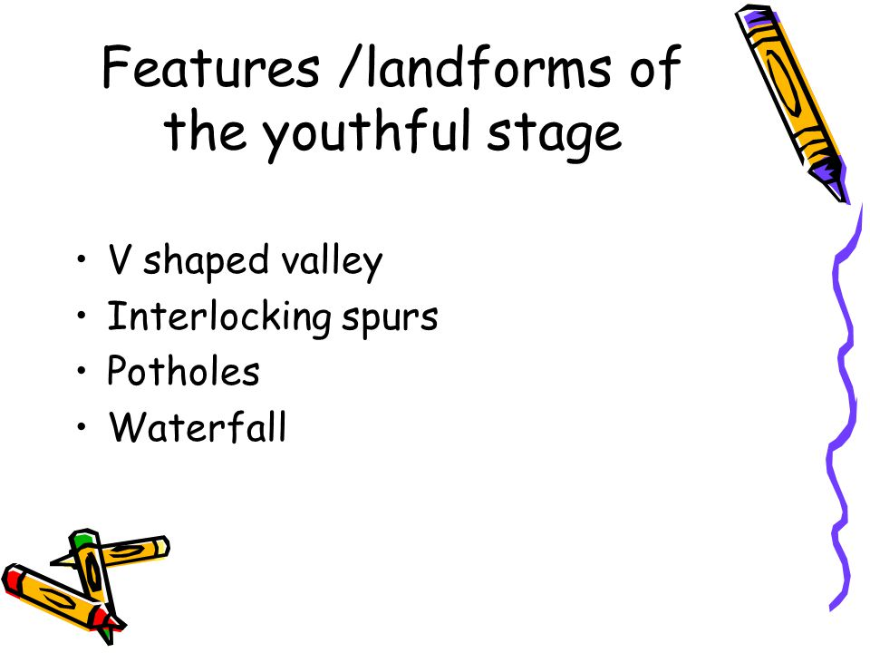 Features /landforms of the youthful stage
