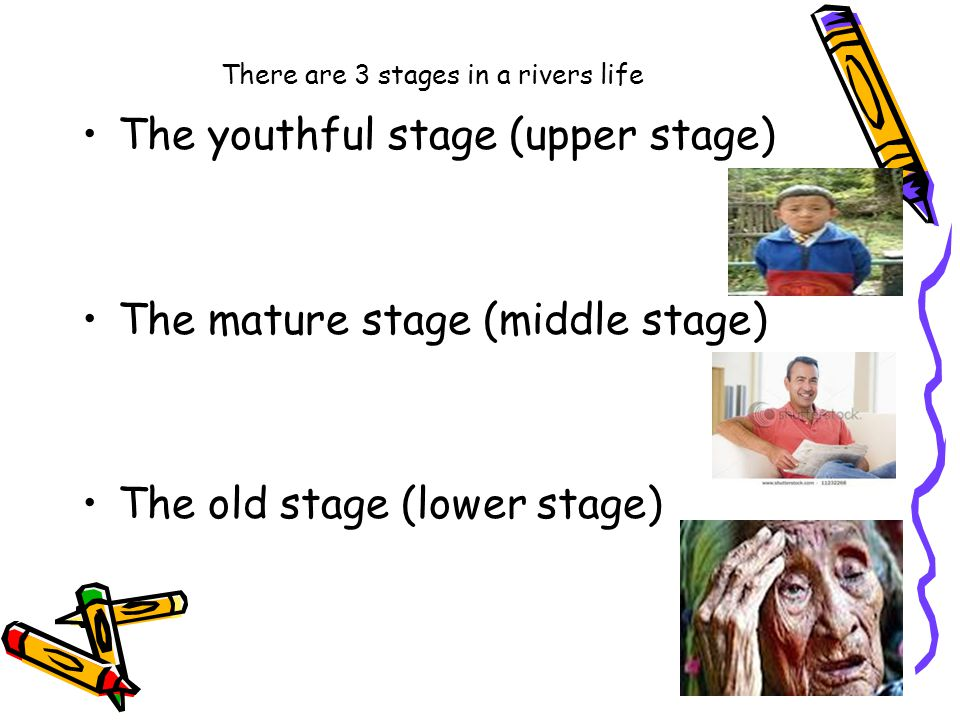 There are 3 stages in a rivers life