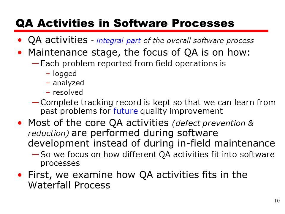QA Activities in Software Processes