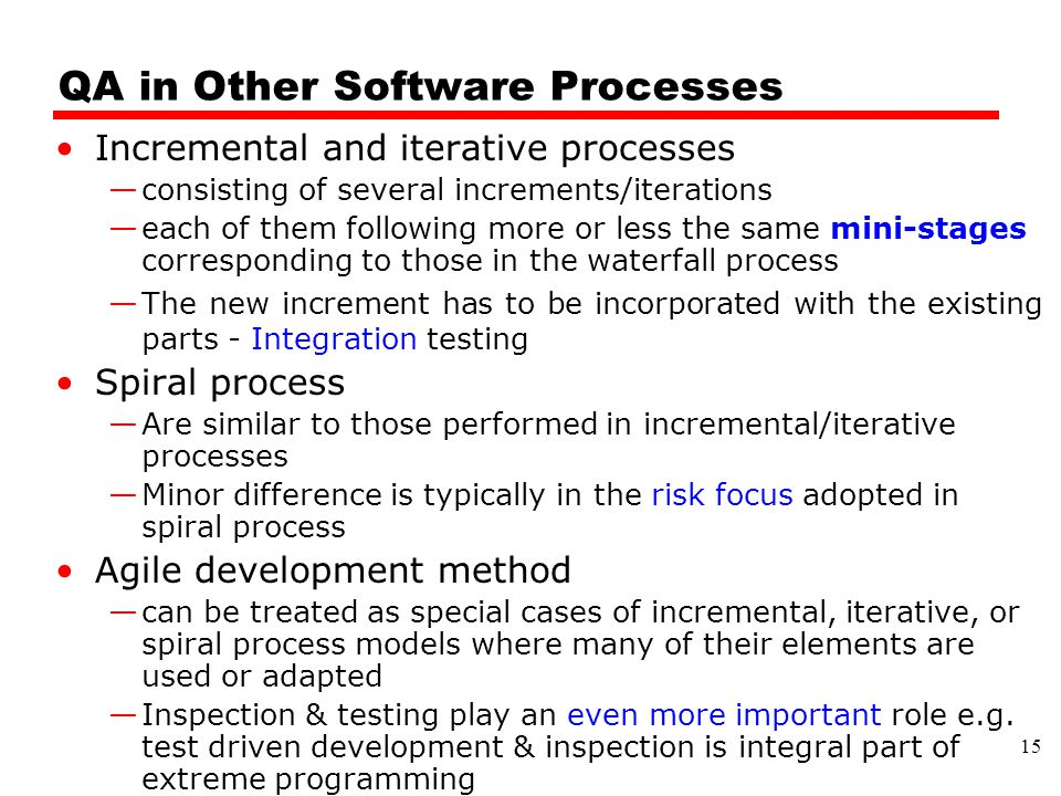 QA in Other Software Processes