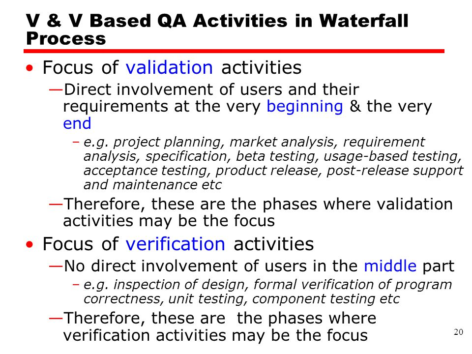 V & V Based QA Activities in Waterfall Process