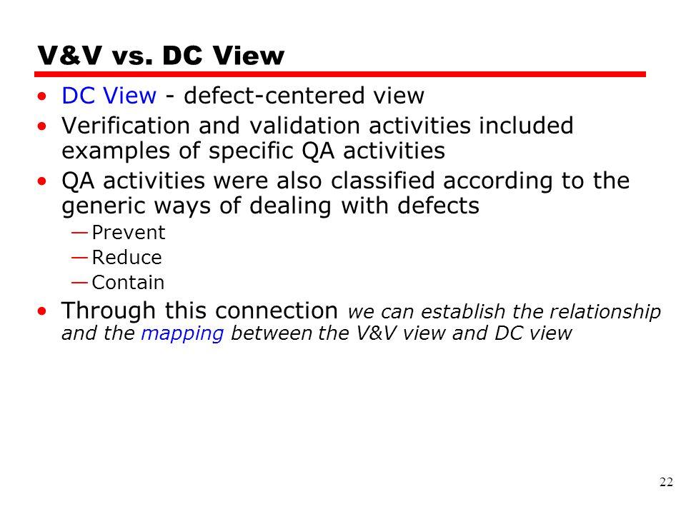 V&V vs. DC View DC View - defect-centered view