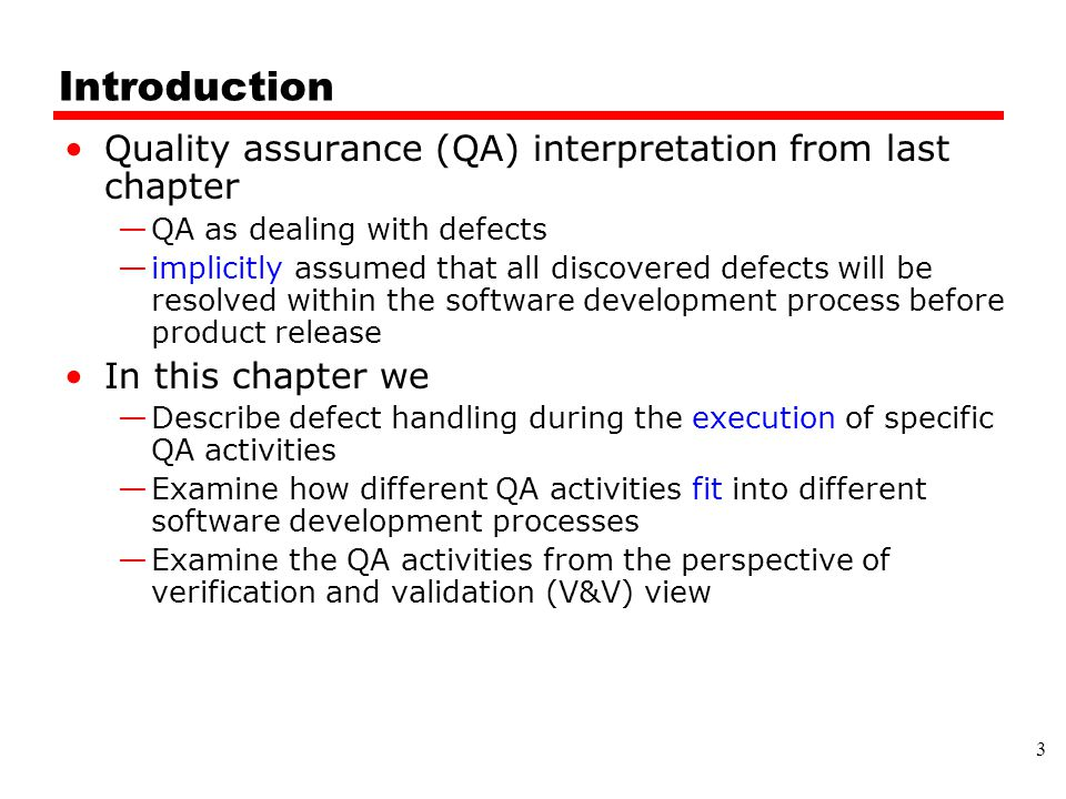 Introduction Quality assurance (QA) interpretation from last chapter