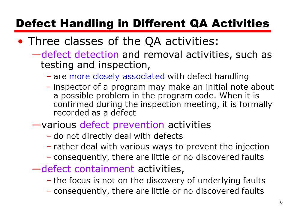 Defect Handling in Different QA Activities