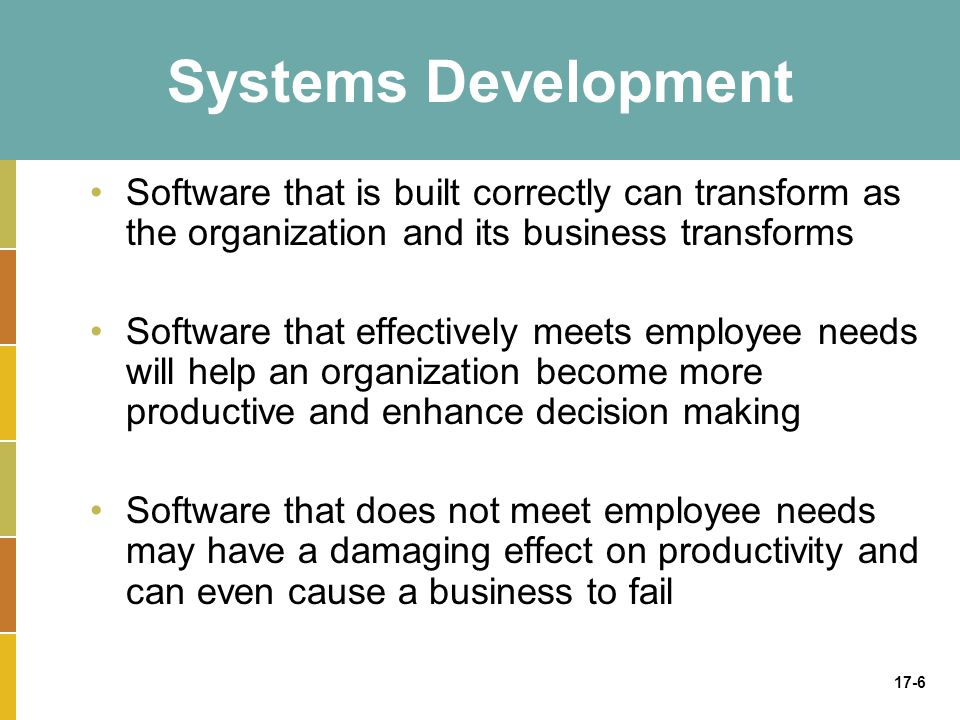 Systems Development Software that is built correctly can transform as the organization and its business transforms.