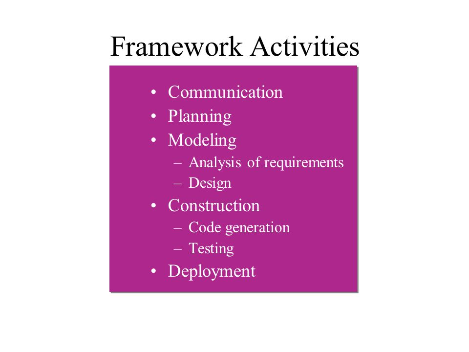 Framework Activities Communication Planning Modeling Construction