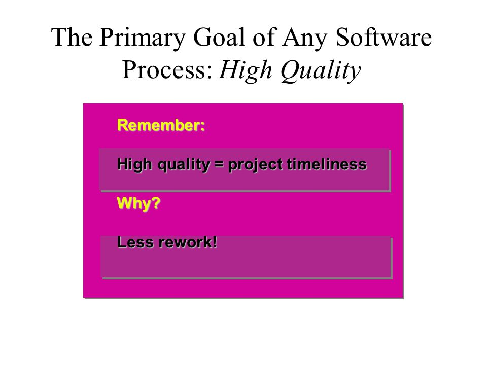 The Primary Goal of Any Software Process: High Quality