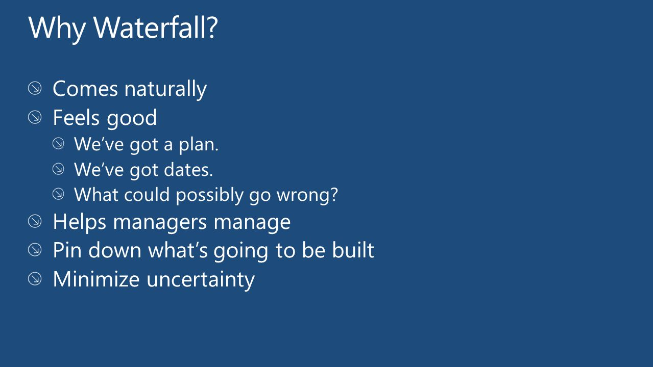 Why Waterfall Comes naturally Feels good Helps managers manage