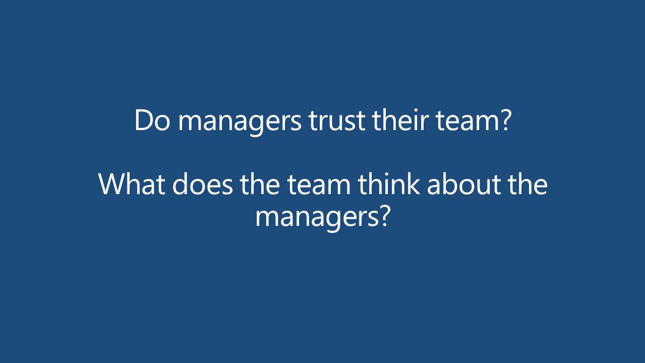 Do managers trust their team