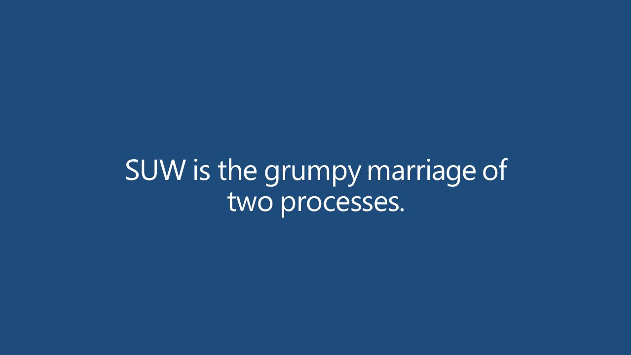 SUW is the grumpy marriage of two processes.