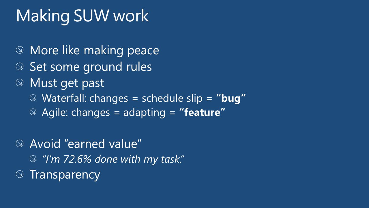 Making SUW work More like making peace Set some ground rules