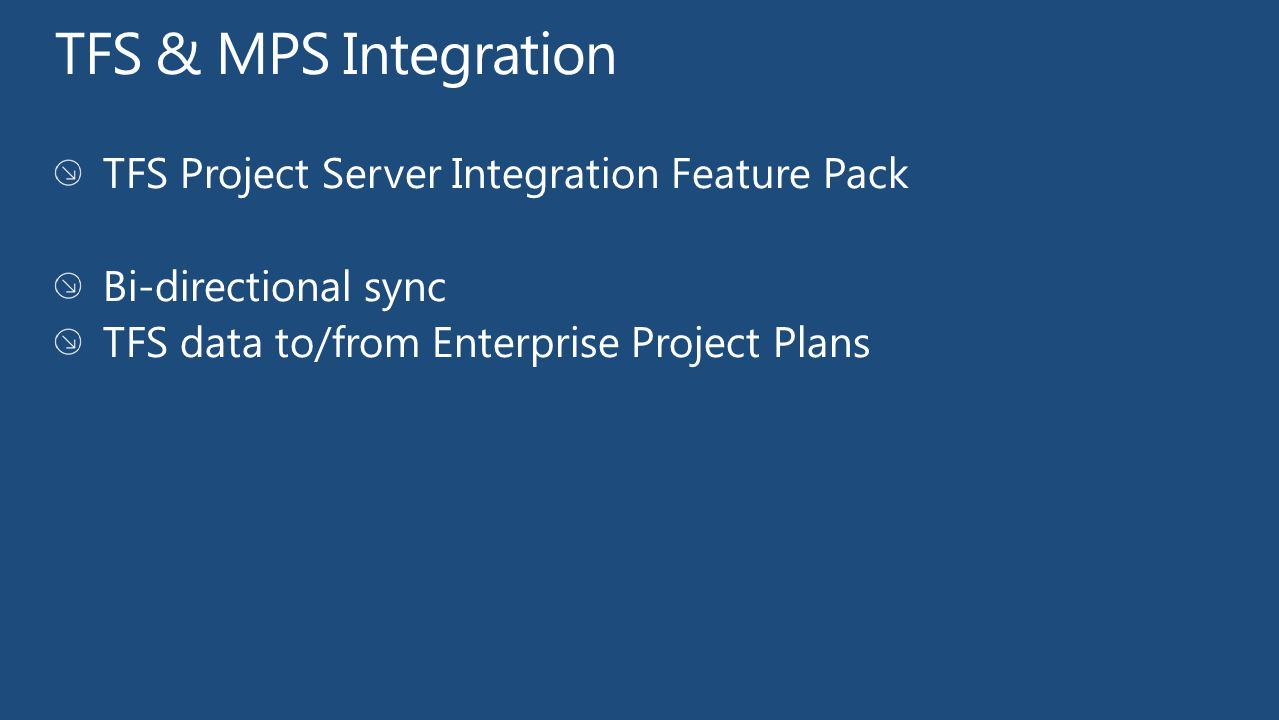TFS & MPS Integration TFS Project Server Integration Feature Pack