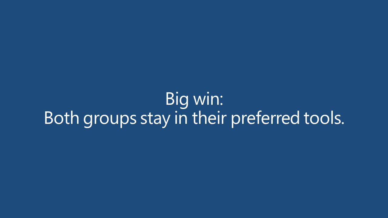 Big win: Both groups stay in their preferred tools.