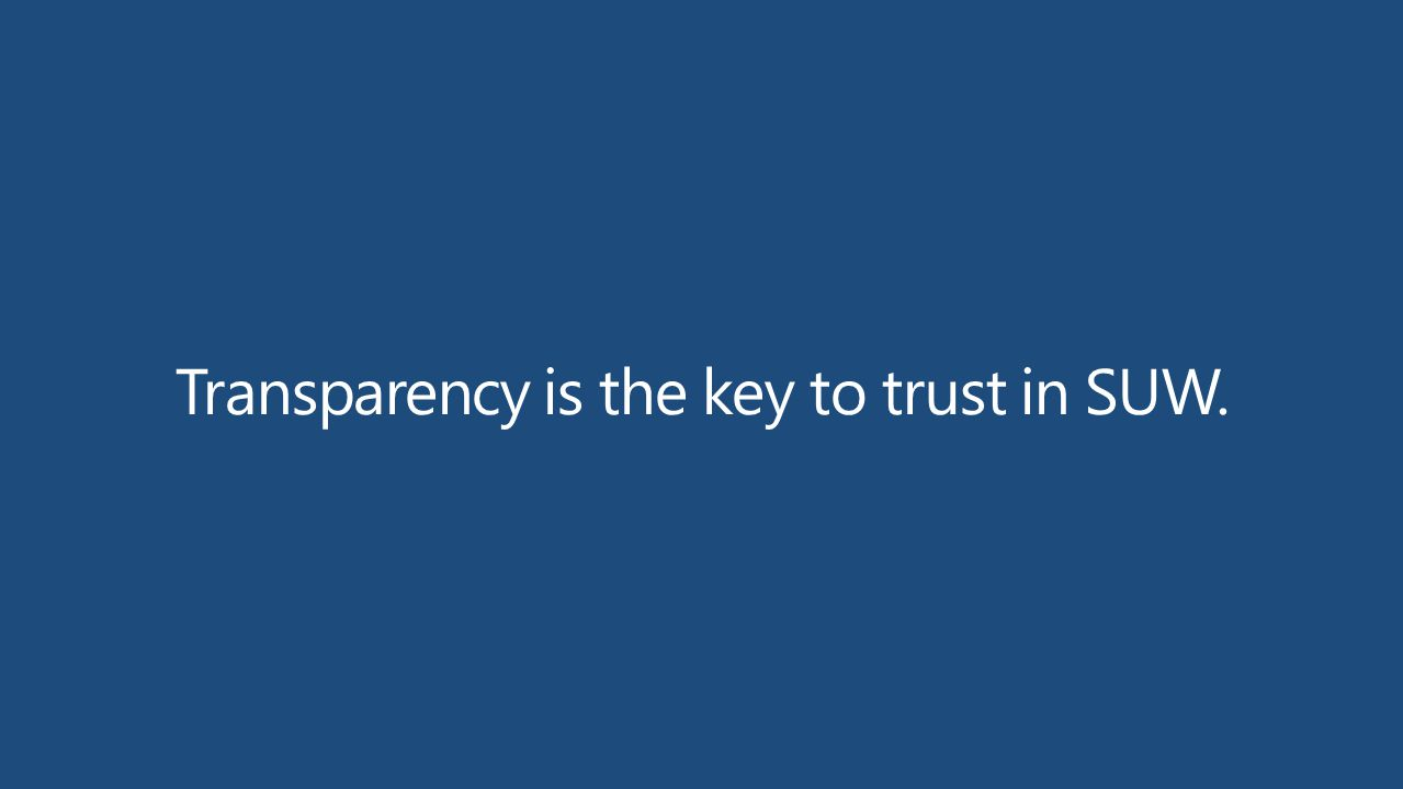 Transparency is the key to trust in SUW.