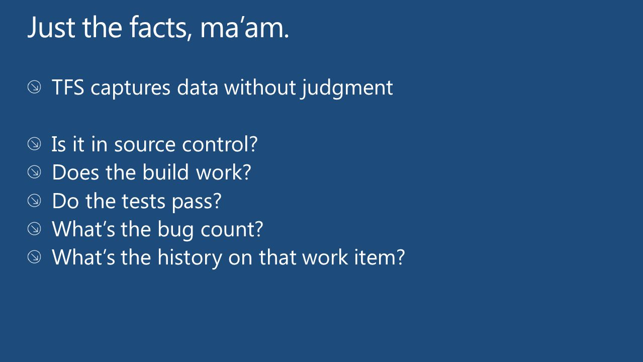 Just the facts, ma'am. TFS captures data without judgment