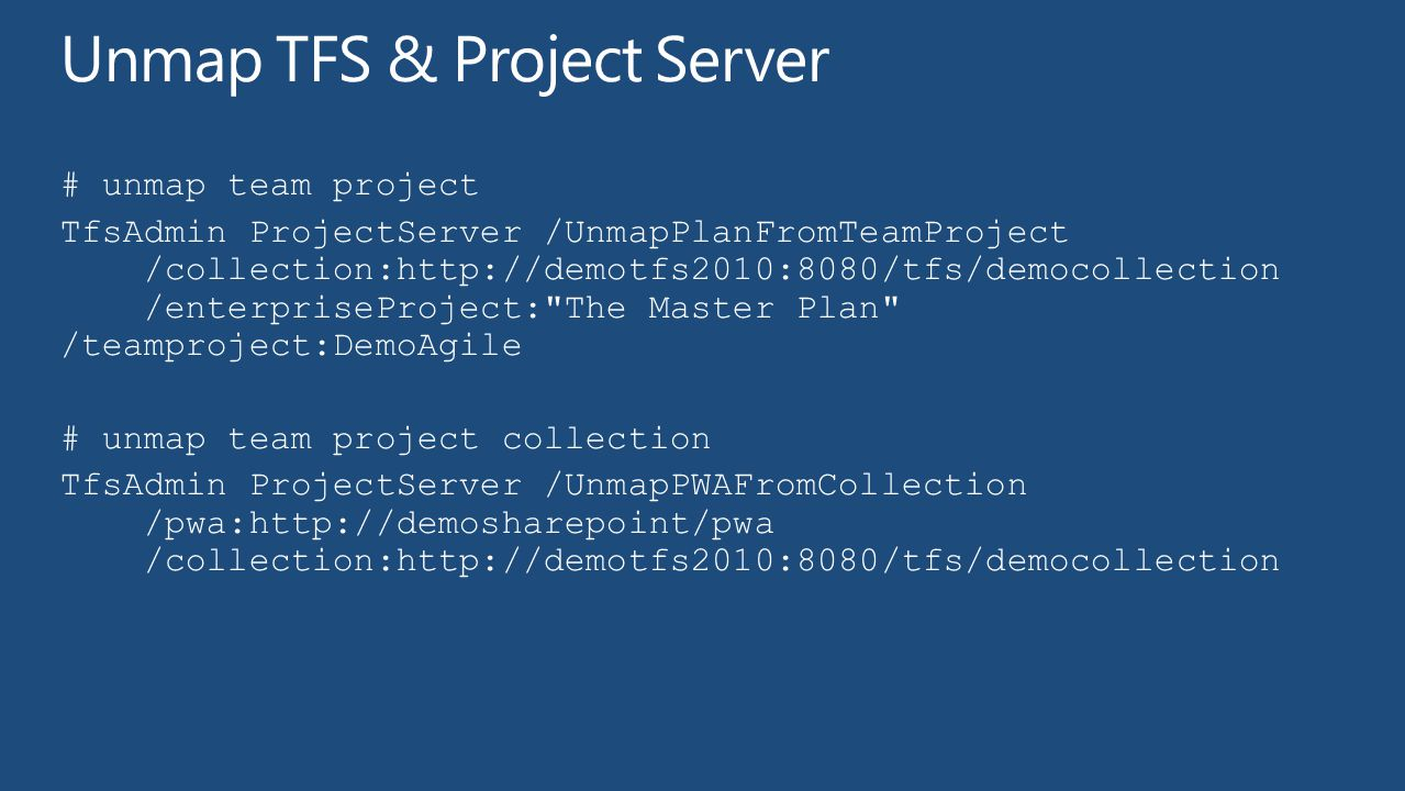 Unmap TFS & Project Server