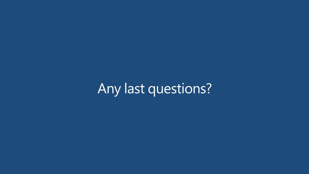 Any last questions