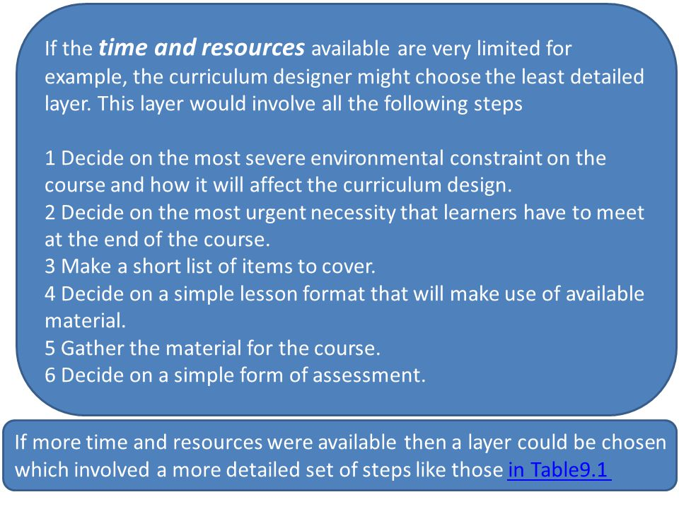If the time and resources available are very limited for example, the curriculum designer might choose the least detailed