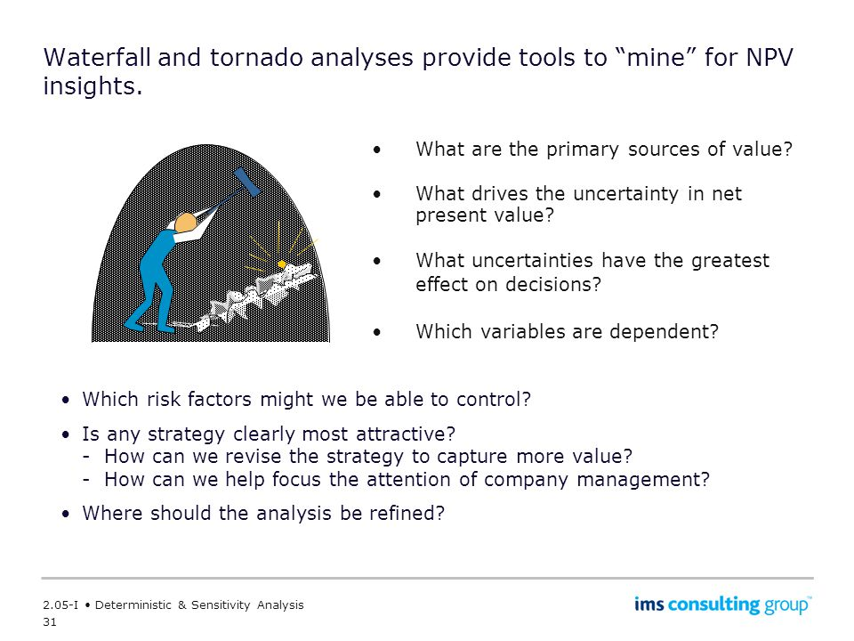 Waterfall and tornado analyses provide tools to mine for NPV insights.